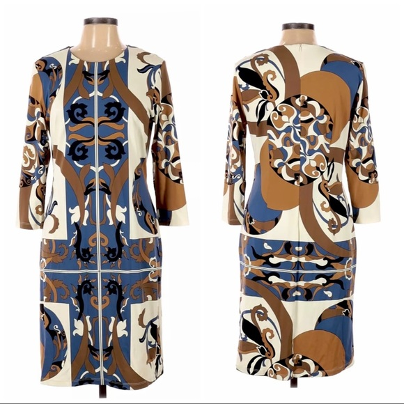 J.McLaughlin 3/4 Sleeve Printed Shift Dress Sz M